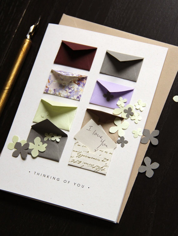 Thinking of You Card  Tiny Envelopes with by LemonDropPapers, $6.00  - Incredibly clever!