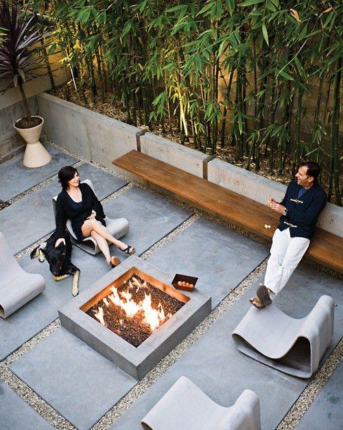 ●Fire Pit | Stone Border | Modern Landscaping | Bamboo Garden