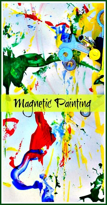 Fun and exciting process art. Magnetic Attraction Painting from Crayon Box Chronicles for Blog Me Mom.