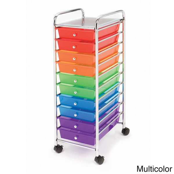 10 Drawer Multi color Rolling Organizer Cart Teacher Supplies Scrapbooking Craft #SevilleClassics