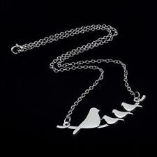 Birds on a Branch Necklace Silver Tone 4 Birds Necklace Mom Birds Branch