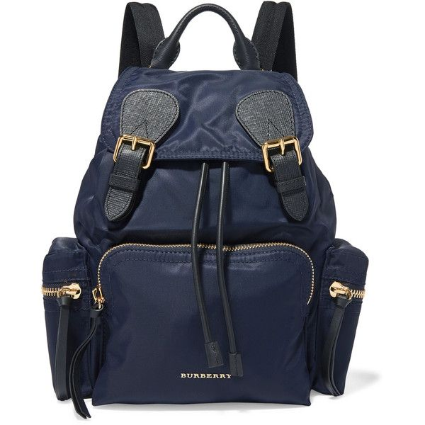 Burberry Leather-trimmed gabardine backpack (81.205 RUB) ❤ liked on Polyvore featuring bags, backpacks, navy, burberry rucksack, draw string bag, blue backpacks, navy evening bag and drawstring bags