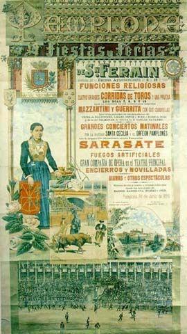 Cartel Sanfermines 1895 - Fiestas y ferias de San Fermín,  #Pamplona