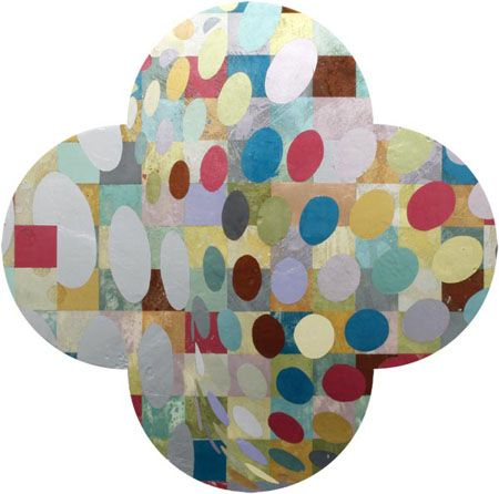 Max Gimblett: The summer of the beautiful white horse homage to sigmar polke and salvador dali  2010  Gesso, Gelatin, Oil Size  50 inch quatrefoil  Retrieved from: http://www.gowlangsfordgallery.co.nz