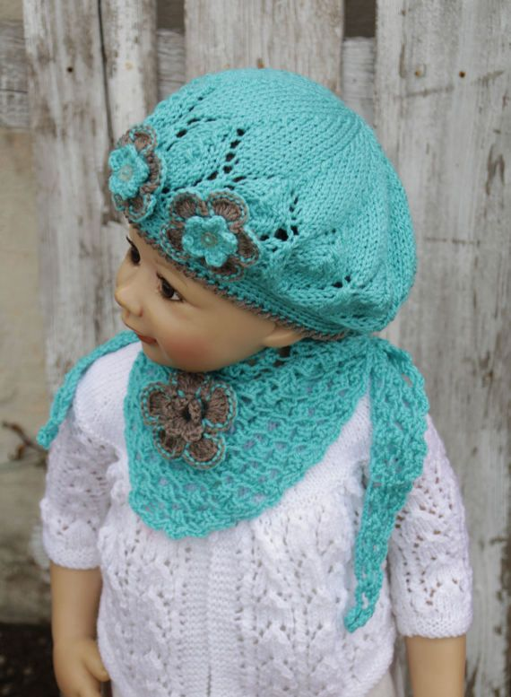 Knitted set Children's hat cap with the scarf Gils Knit by Degra2