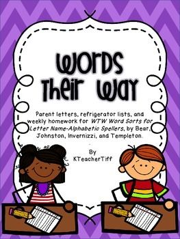 Words Their Way for Letter Name spellers Homework and Parent information packet...huge, time-saving resource!