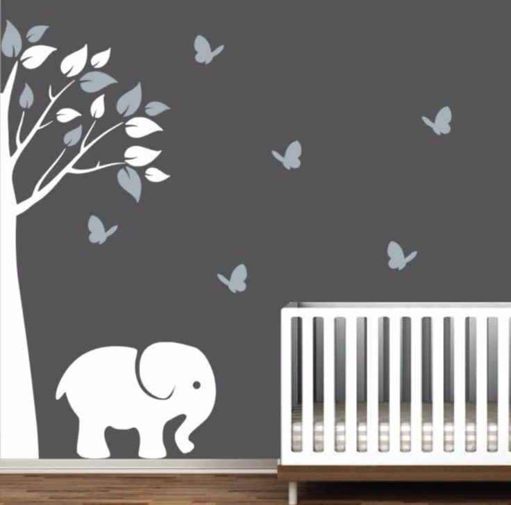 Nursery Decal With Corner Tree Elephant And Butterflies