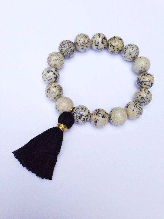 Tassel Bracelet Boho Bracelet Stackable Bracelet with  Black