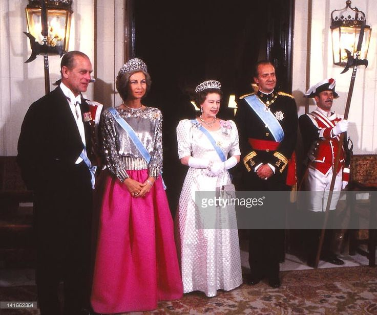 The Spanish Kings Juan Carlos and Sofia together with Queen Elizabeth II and…