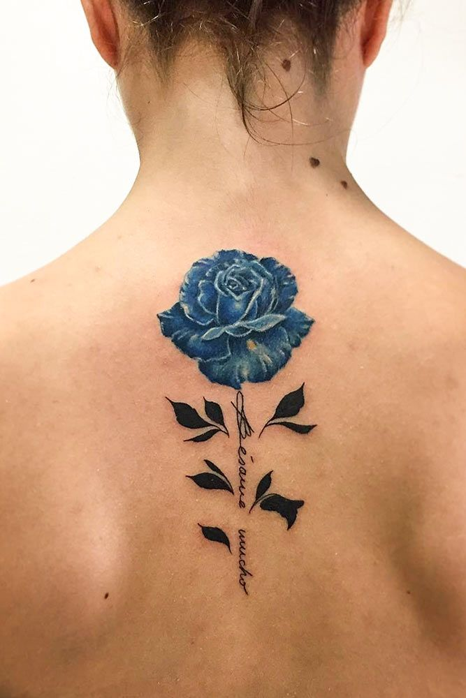 33 Rose Tattoos And Their Origin Symbolism And Meanings Neck Tattoo Blue Rose Tattoos Floral Back Tattoos