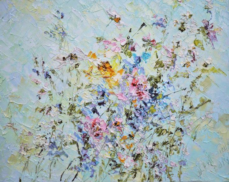 Пышный букет прекрасных полевых цветов. Очень красивая нежная работа. Марина Маткина.