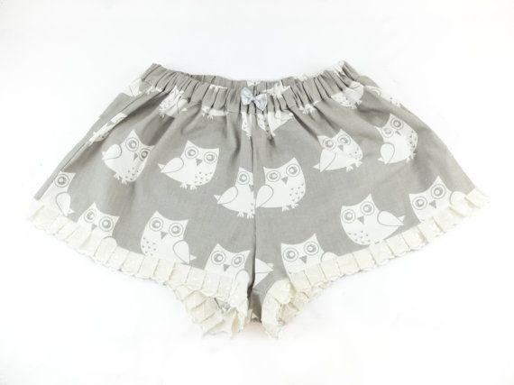 Nightwear shorts  Owls' by Jousilook on Etsy