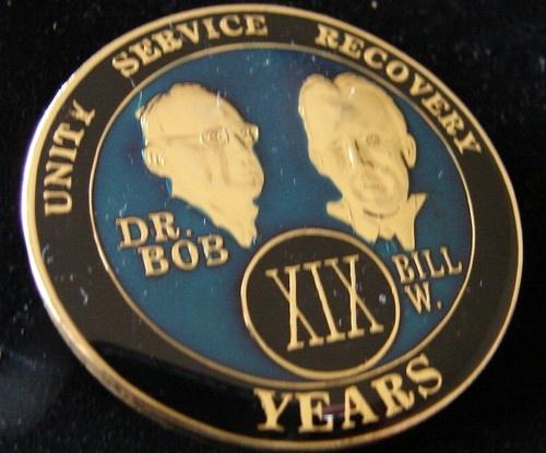 Alcoholics Anonymous 19 Year Anniversary Blue Tri Plate Medallion Bill w Dr Bob | eBay
