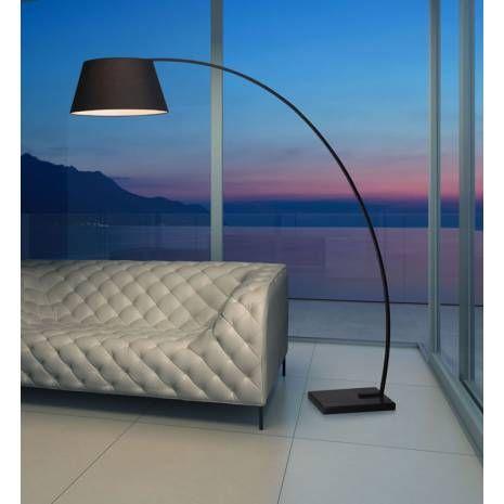 marble base black fabric shade modern loft arc floor lamp