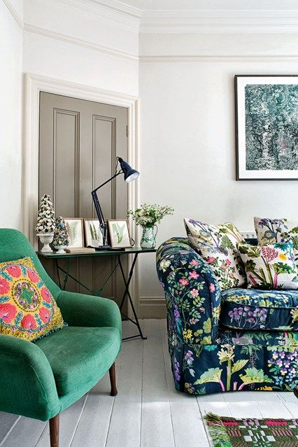 Love the pattern mix...Floral Sofa - Living Room Design Ideas & Pictures (houseandgarden.co.uk)