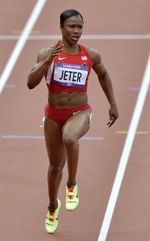 Carmelita Jeter during the 100 M heat.