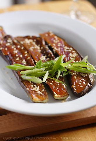 Miso Broiled Eggplant...I used regular eggplant and they turned out well. They taste salty and sweet with a bit of a spicy tang. we will definately be adding this to our regular veggie dish ideas