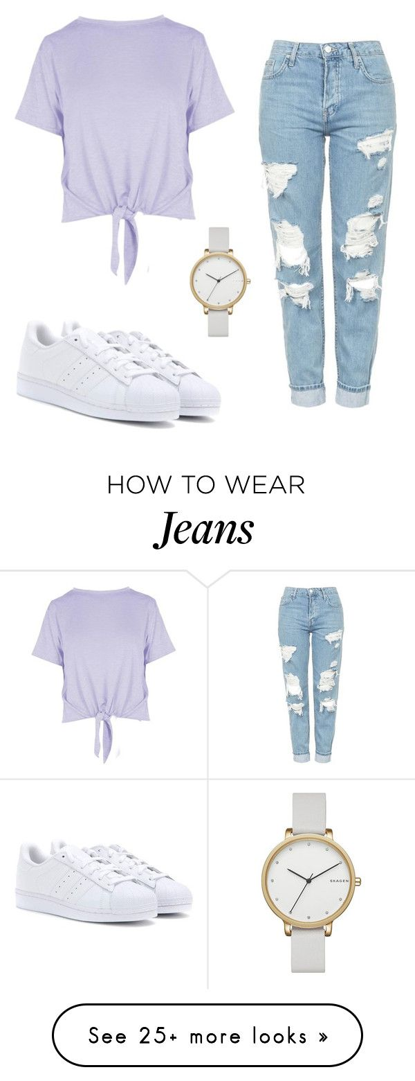 """Ripped jeans"" by fijds on Polyvore featuring Topshop, Boohoo, adidas and Skagen"