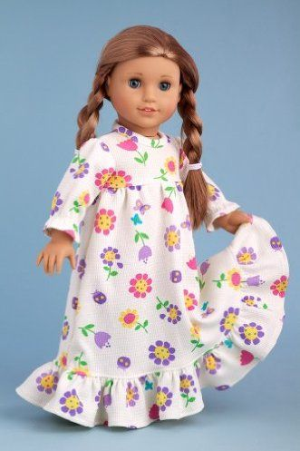 DreamWorld Collections Good Night - Cotton pajama top with flannel pants - Doll Clothes for 18 Inch Dolls : Contemporary Doll Outfits