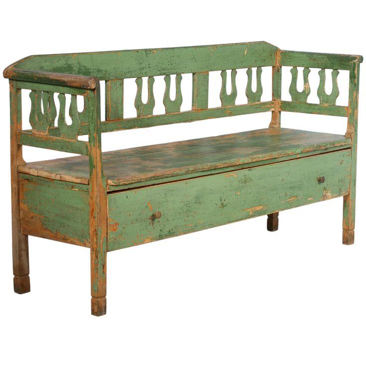 Antique Original Green Bench With Drawer, Romania circa 1880