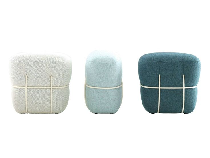 UPHOLSTERED POUF WITH REMOVABLE LINING LACE BY ROSET ITALIA | DESIGN BENJAMIN GRAINDORGE