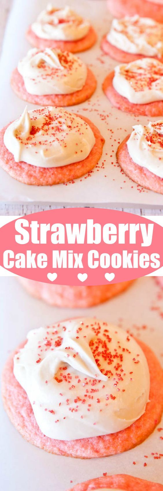 Strawberry Cake Mix Cookies with Vanilla Cream Cheese Frosting - Super soft and tender cookies that just melt in your mouth!! Goofproof cookies everyone loves! Perfect for Valentine's Day!, Mother's Day, or Easter!!