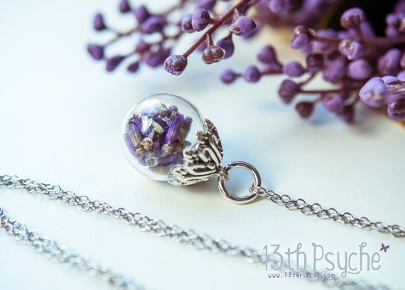 Lavender Necklace Real Flower Jewelry Lavender Jewelryglass Ball Necklacepressed Flower Necklacehandma In 2020 Lavender Necklace Lavender Jewellery Real Flower Jewelry