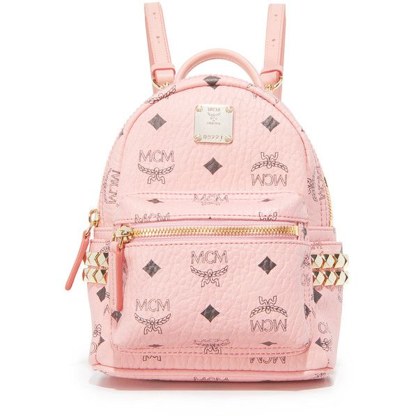 MCM Mini Stark Backpack ($690) ❤ liked on Polyvore featuring bags, backpacks, soft pink, real leather backpack, mini leather backpack, miniature backpack, leather knapsack and leather backpack