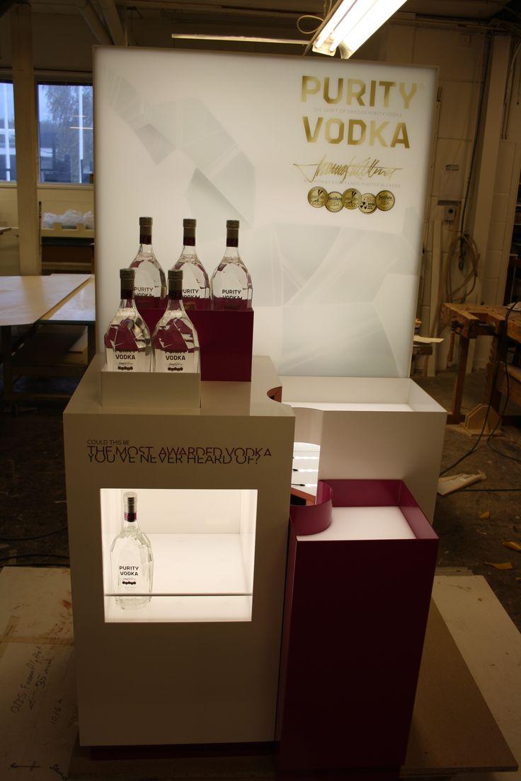 Test with bottles. Displaystand for Purity Vodka. #retail #productdisplay #productdesign #furnituredesign #branding #purityvodka #dawnofideas #wip #workinprogress