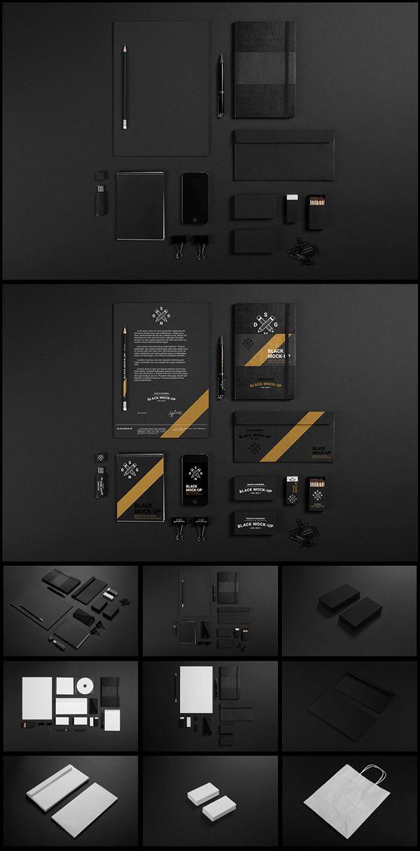 Black Stationary Mock-up Created by Samochernyi Aleksandr. #identity #branding