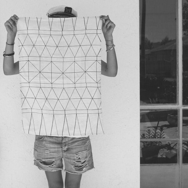 Pony Rider — White Traveller Tea towel   geometric design   black and white