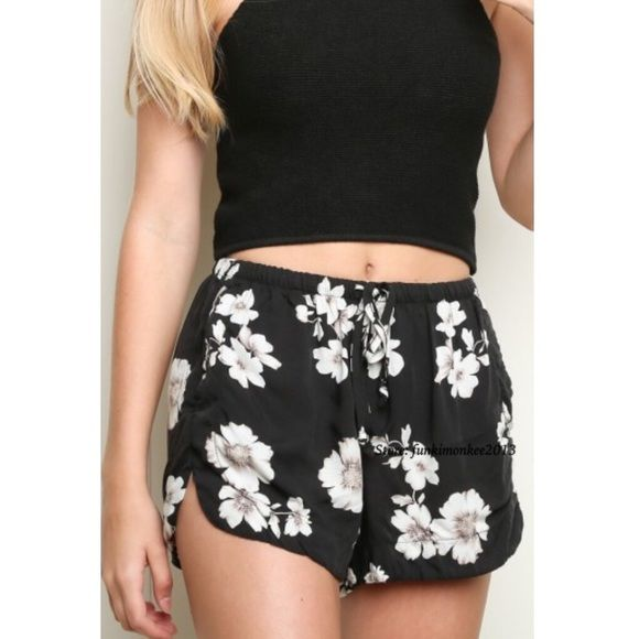 Brandy Melville black floral eve shorts NWT Brandy Melville Shorts