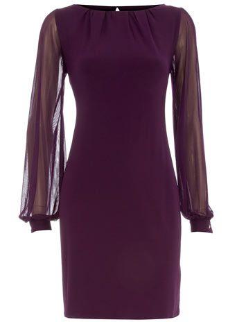 Purple chiffon sleeve dress - love this