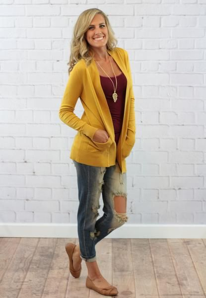 Yellow Cardigan Outfit | Outdoor Jacket