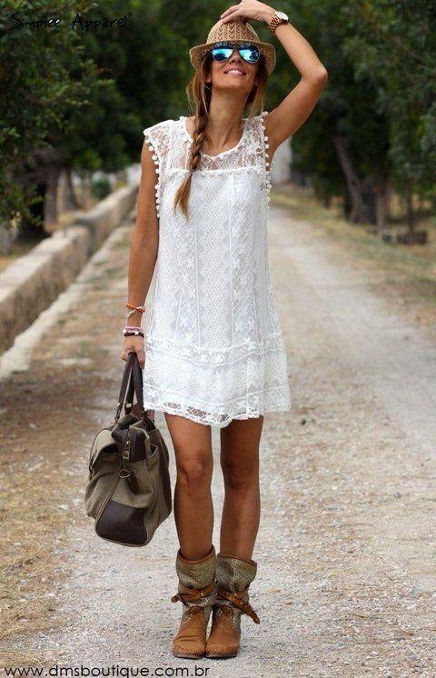 Vestido Branco de Renda - Ref.481