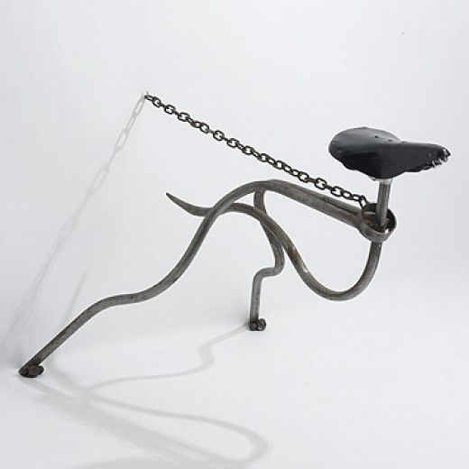 MARK LEWIS greyhound chair United Kingdom, c. 1985 tubular steel, steel chain, bicycle seat 40 w x 28 d x 28 h inches