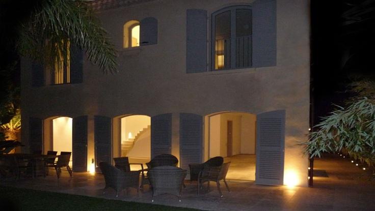 Saint Tropez Villa Helianthe. Exterior by night