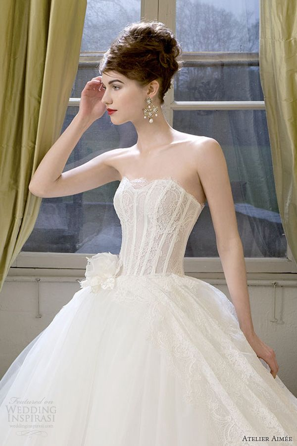 atelier aimee bridal 2014 claudine strapless wedding dress lace bodice