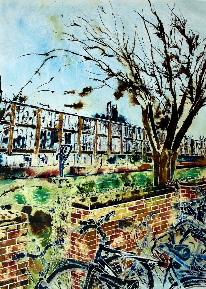 """""""New"""" addition to my paintings for sale. Cathy Read Art - St Catherine's College, Oxford -The Moat"""