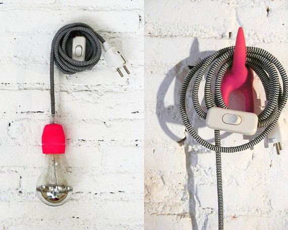 Textile cable lamp with switch and plug  neon pink by lacasadecoto, €39.00