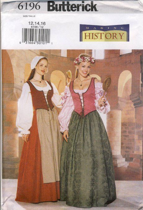 Amazon.com: Butterick Sewing Pattern 6196 - Making History - Use to Make - Misses Historical Costume - Rennaissance / Medieval Style - Misse...