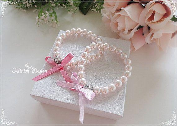 Flower Girl Gifts, Flower Girl Bracelet, Pink Pearl Bracelet, Party Favor, Flowergirl Gifts, Girl Bracelets, Rhinestone Bow Bracelets