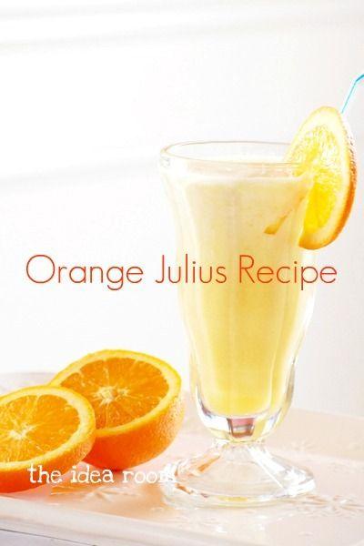 Orange Julius Recipe via Amy Huntley (The Idea Room): Orange Julius, Ice Cubes, Powder Milk, Ideas Rooms, Julius Recipes, Lovabl Food, Favorite Pin, Orange Juice, Originals Recipes