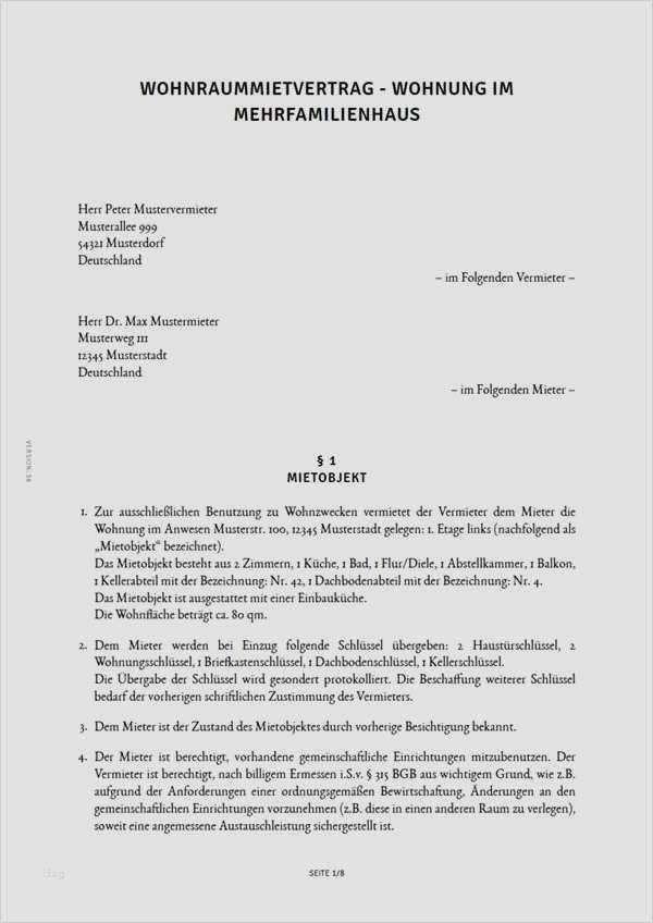 Kostenlose Vorlage Fur Mietvertrag Fur Wohngebaude 1