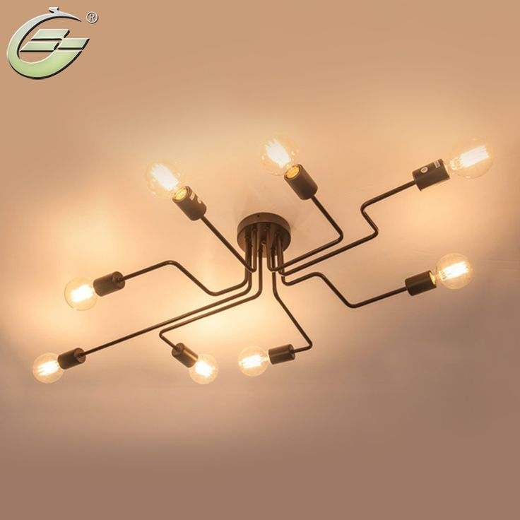 Cheap ceiling lights, Buy Quality ceiling lamp directly from China lamp creative Suppliers: Vintage Wrought Iron 4/6/8 Heads Multiple Rod Ceiling Lamp Creative Retro Nostalgia Cafe Bar Ceiling Lights,CL06