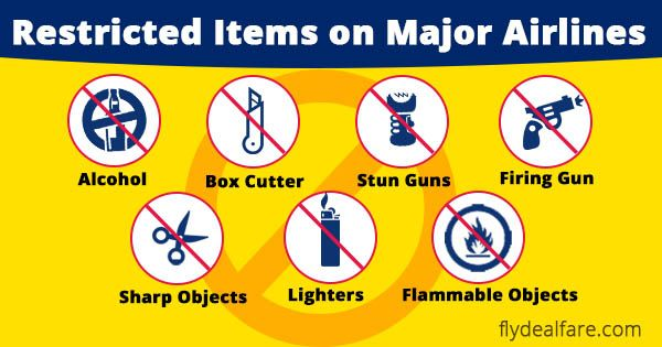LIST OF #RestrictedItmes ON MAJOR AIRLINES If you are traveling in one of the flights of #UnitedAirlines, then you need to know what items are restricted on #majorairlines. Here, is the list of items which are restricted to take with you. 1. Batteries 2. Camping Equipment … Read More