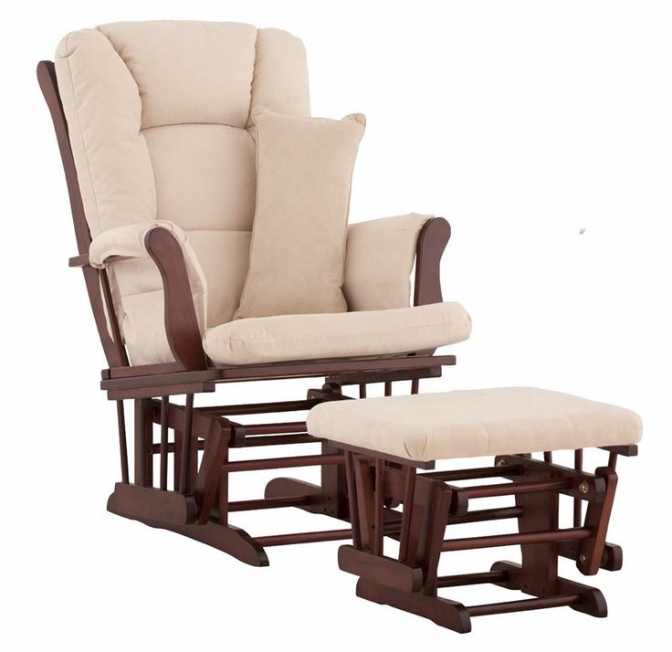 Wood Rocking Chair Glider Rocker And Ottoman Set Living Room Furniture  Cushioned Luxury Comfortable Nursery Rocking