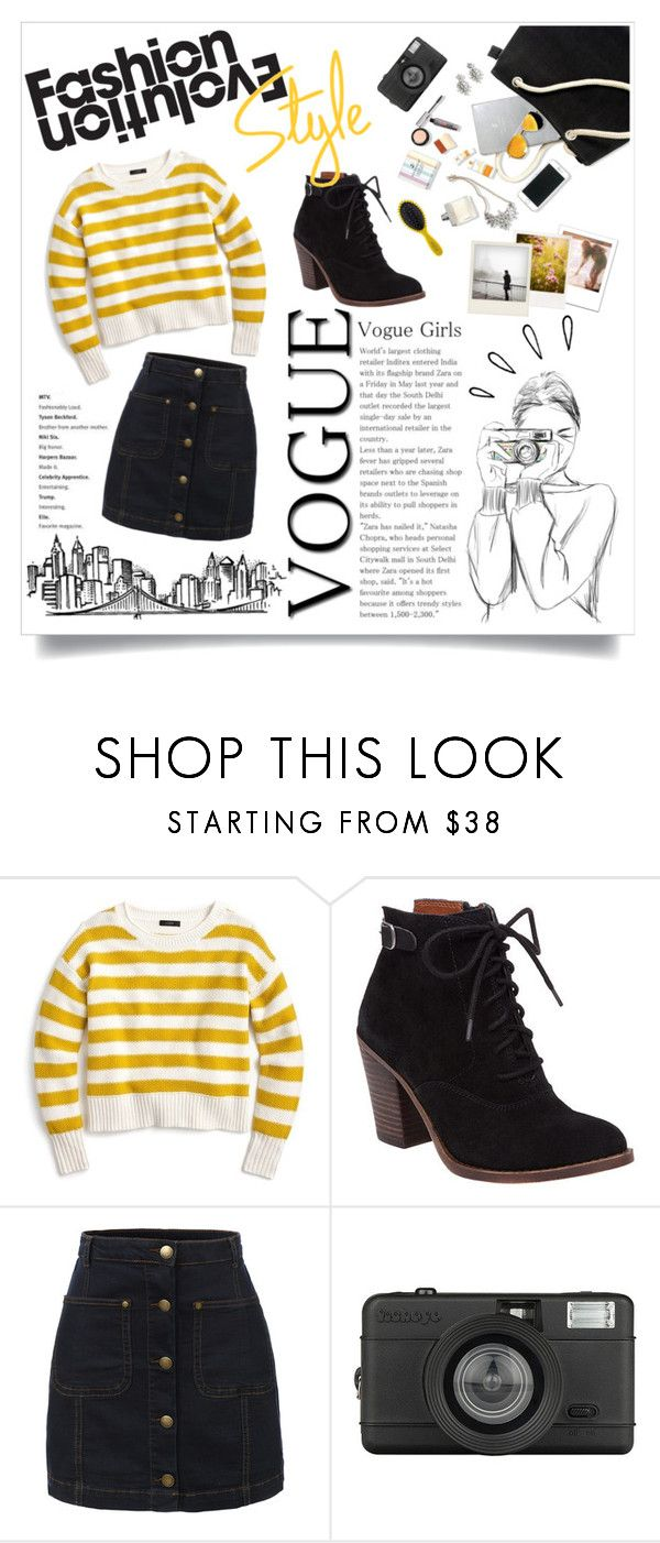 """""""A young perfect girl"""" by atikazahra on Polyvore featuring J.Crew, Lucky Brand, Old Navy, Polaroid, LE3NO, Lomography, Drybar, stripes, booties and GirlOnFire"""