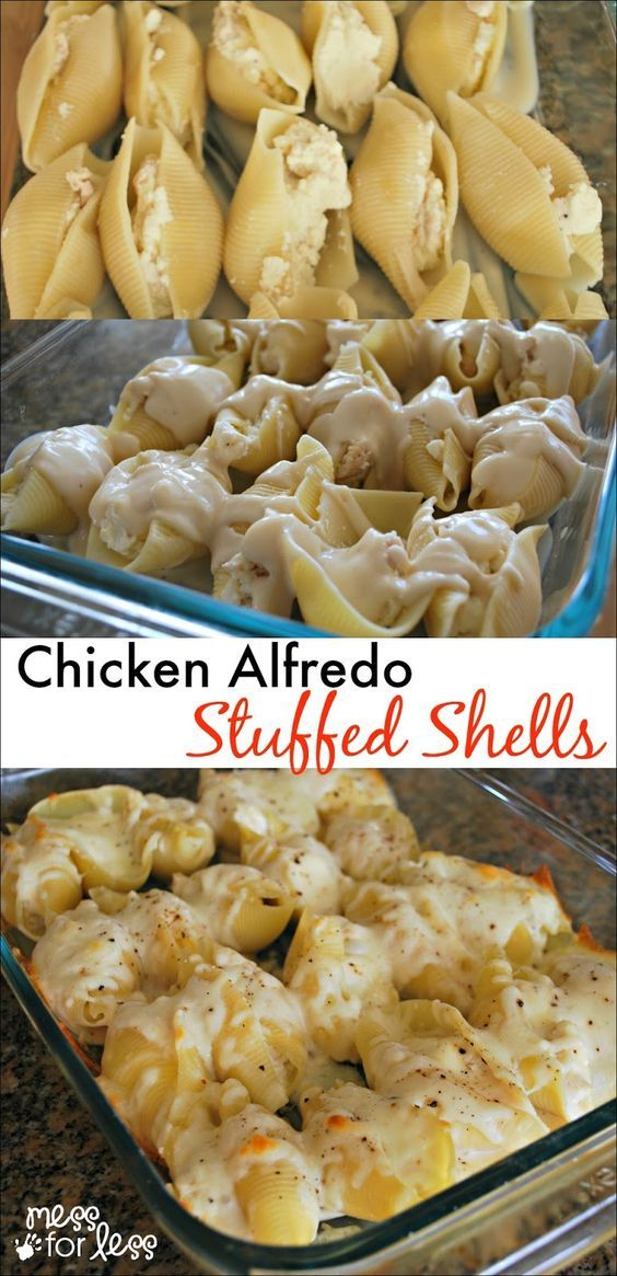 Chicken Alfredo Stuffed Shells - Yummy twist on traditional stuffed shells recipe. Comfort food at its best!