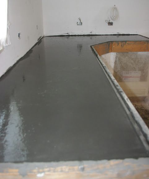 Thousand Square Feet: DIY Pour-in-Place Concrete Countertops. Click for the concrete recipe: http://thousandsquarefeet.blogspot.com/2014/03/recipe-for-diy-concrete-counter-tops.html